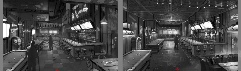 Environment Concept Art - Telltale Games Batman  - StakedDeckBar_DevSketch1a