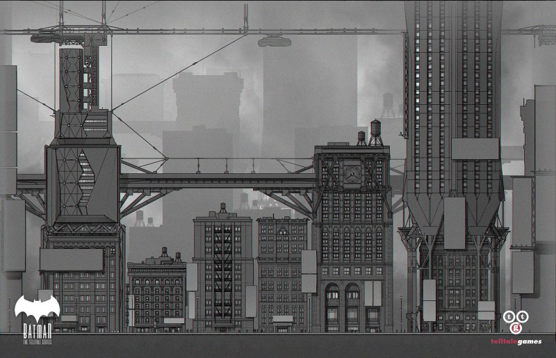 Environment Concept Art - TellTale Games Batman Gotham City -buildingtiles-devsketch-a