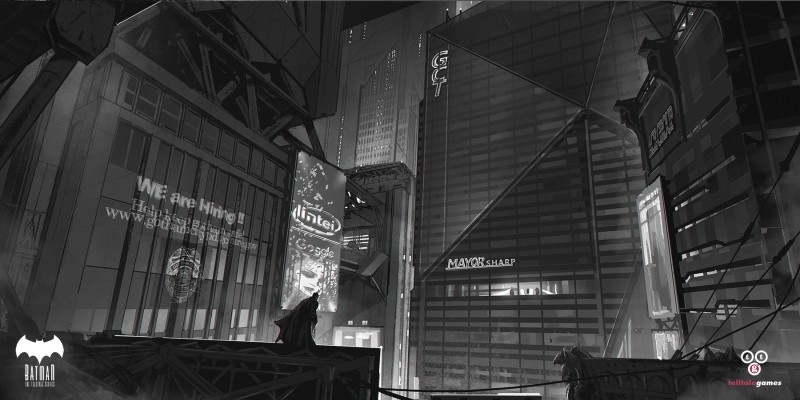 Environment Concept Art - Telltale Games Batman Gotham City Mayors Office-night