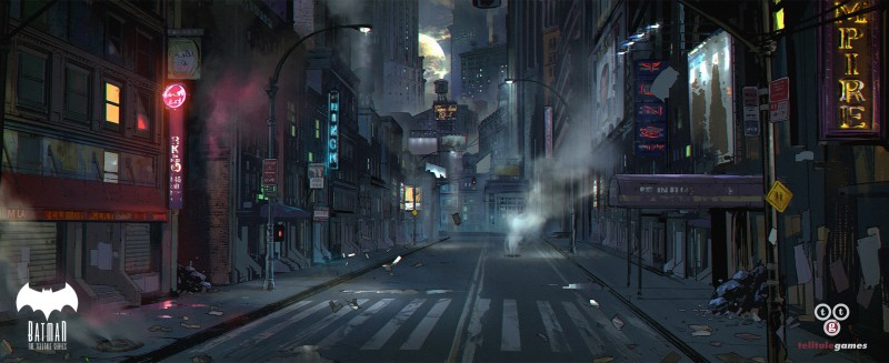 Environment Concept Art - Telltale Games Batman Gotham Streets-devsketch