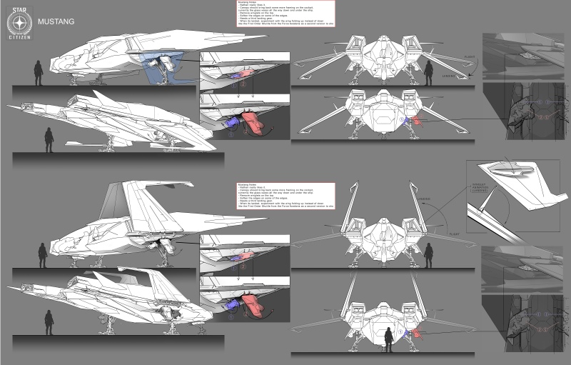 Vehicles and Props Concept Art - Star Citizen Mustang__landinggear_callout
